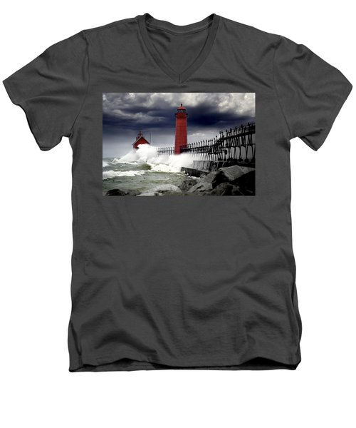 Storm At The Grand Haven Lighthouse Men's V-Neck T-Shirt