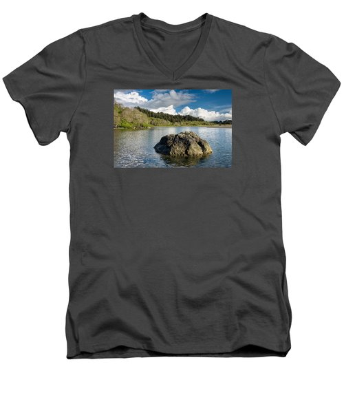 Storm Clearing On The Little River Men's V-Neck T-Shirt by Greg Nyquist