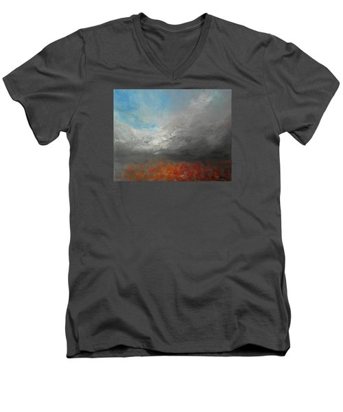 Men's V-Neck T-Shirt featuring the painting Storm Clouds by Jane See