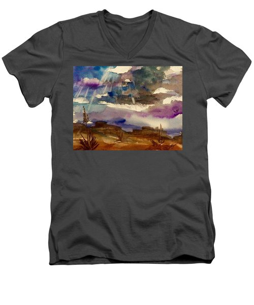 Storm Clouds Over The Desert Men's V-Neck T-Shirt by Ellen Levinson