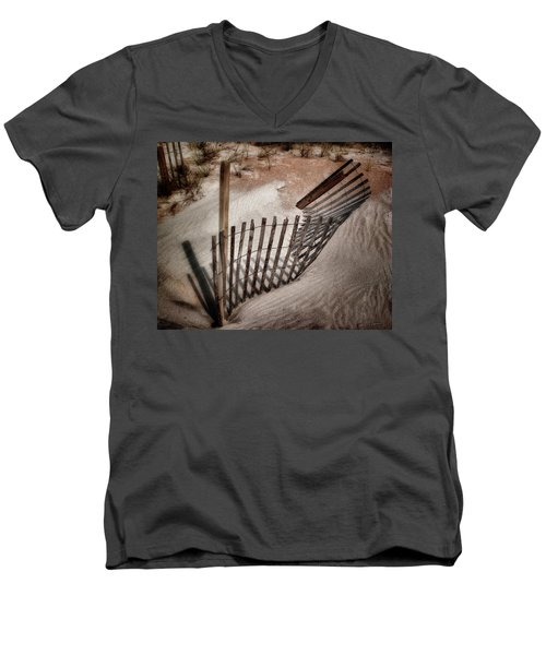 Storm Fence Series No. 2 Men's V-Neck T-Shirt by John Pagliuca