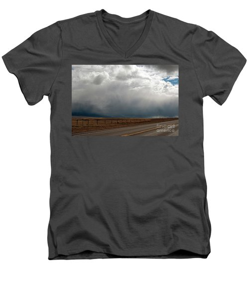 Storm On Route 287 N Of Ennis Mt Men's V-Neck T-Shirt by Cindy Murphy - NightVisions