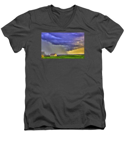 Storm Over River Men's V-Neck T-Shirt