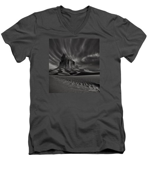 Storm Over Shiprock New Mexico Men's V-Neck T-Shirt by Keith Kapple