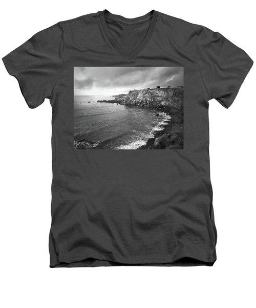 Storm Over The Eastern Shoreline Of Angra Do Heroismo Terceira Men's V-Neck T-Shirt by Kelly Hazel
