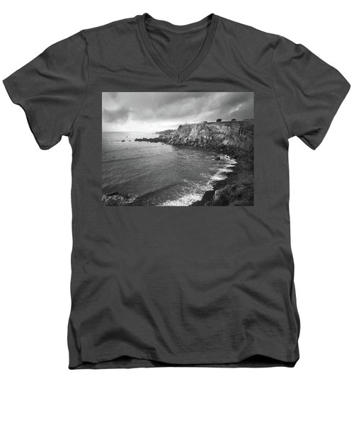 Storm Over The Eastern Shoreline Of Angra Do Heroismo Terceira Men's V-Neck T-Shirt