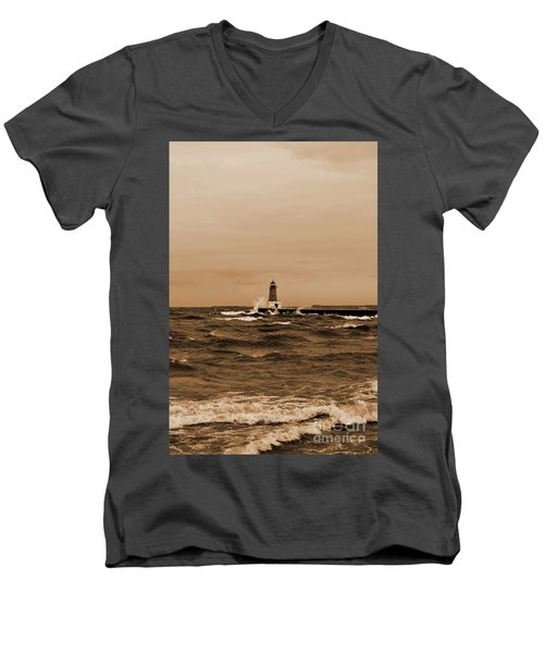 Storm Sandy Effects Menominee Lighthouse Sepia Men's V-Neck T-Shirt