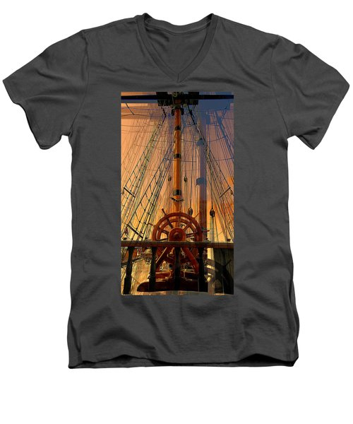 Men's V-Neck T-Shirt featuring the photograph Storm Ship Of Old by Lori Seaman