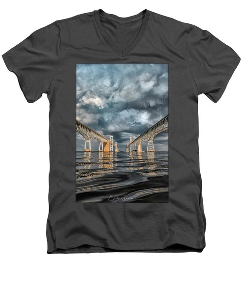 Stormy Chesapeake Bay Bridge Men's V-Neck T-Shirt