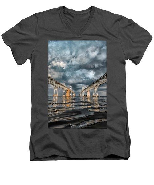 Stormy Chesapeake Bay Bridge Men's V-Neck T-Shirt