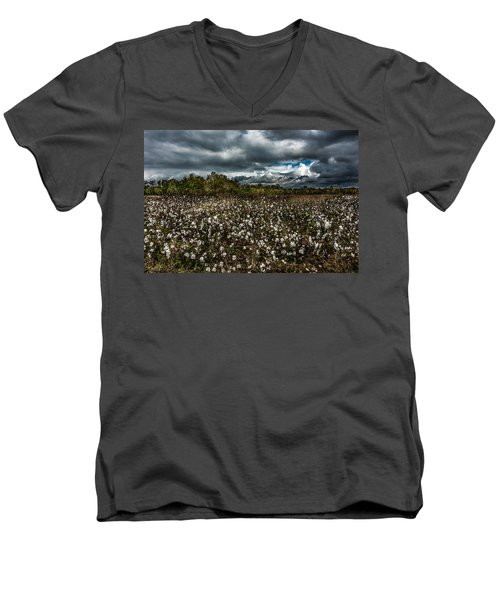 Stormy Cotton Field Men's V-Neck T-Shirt