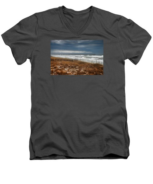 Men's V-Neck T-Shirt featuring the photograph Stormy Day At The Pier by Renee Hardison
