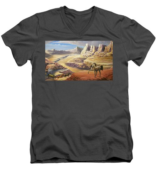 Stormy Men's V-Neck T-Shirt by Loxi Sibley