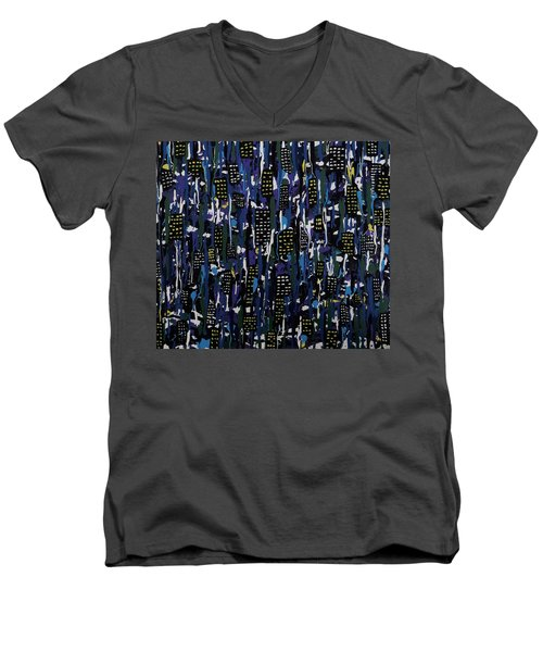 Men's V-Neck T-Shirt featuring the painting Stormy Night In The City by Teresa Wing