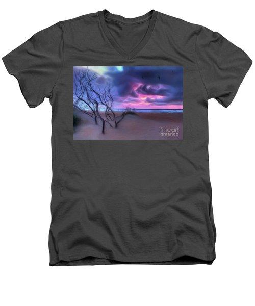Stormy Outer Banks Sunrise And Bush Ap Men's V-Neck T-Shirt by Dan Carmichael