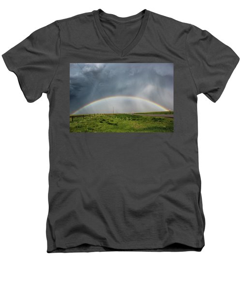 Men's V-Neck T-Shirt featuring the photograph Stormy Rainbow by Ryan Crouse