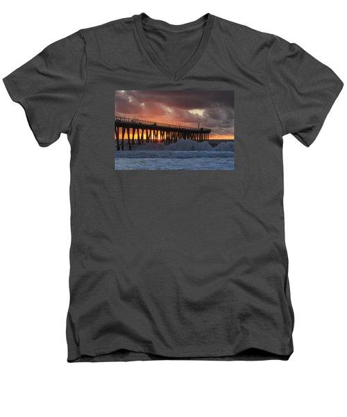 Stormy Sunset Men's V-Neck T-Shirt by Ed Clark