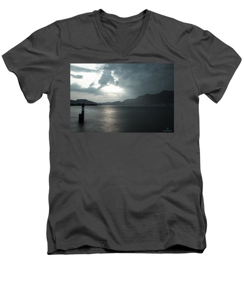 Stormy Sunset On The Lake Men's V-Neck T-Shirt by Cesare Bargiggia
