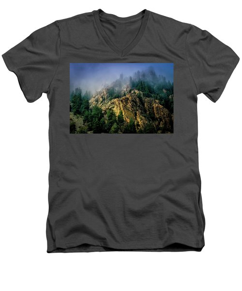 Stormy Wasatch- Fog Men's V-Neck T-Shirt