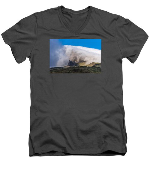 Storr In Cloud Men's V-Neck T-Shirt by Gary Eason