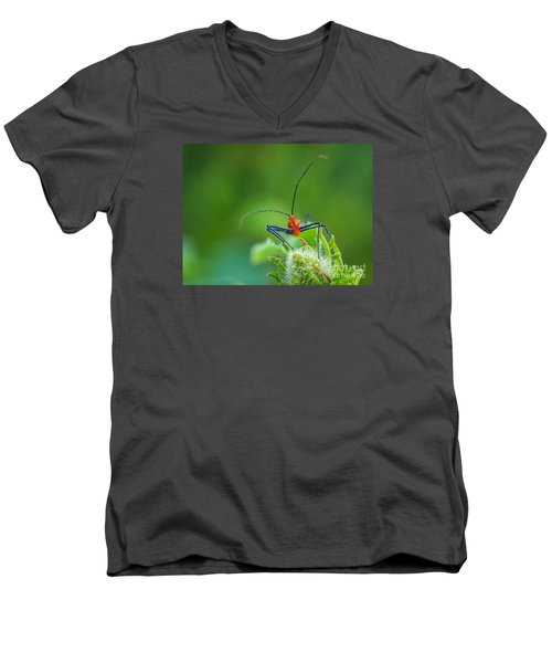 Straight In The Eye Look  Men's V-Neck T-Shirt by Tom Claud