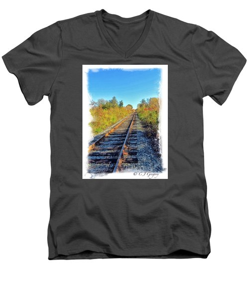 Men's V-Neck T-Shirt featuring the photograph Straight Track by Constantine Gregory