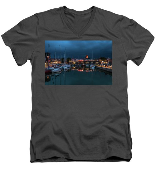 Stralsund At The Habor Men's V-Neck T-Shirt by Martina Thompson