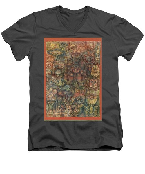 Strange Garden Men's V-Neck T-Shirt by Paul Klee