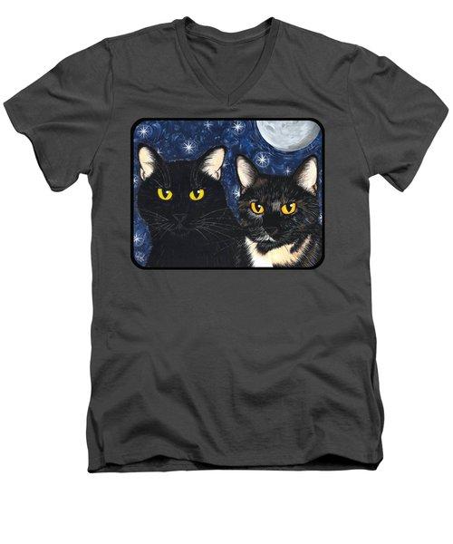 Strangeling's Felines - Black Cat Tortie Cat Men's V-Neck T-Shirt
