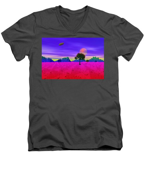 Strangely Place Men's V-Neck T-Shirt by Mark Blauhoefer