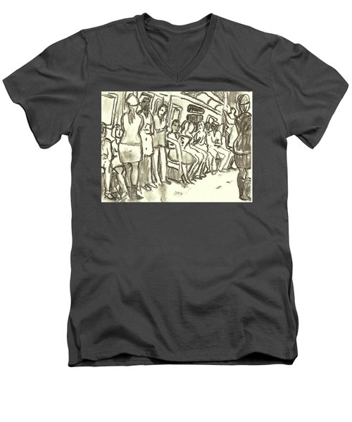 Strap Hangers, Nyc Subway Men's V-Neck T-Shirt