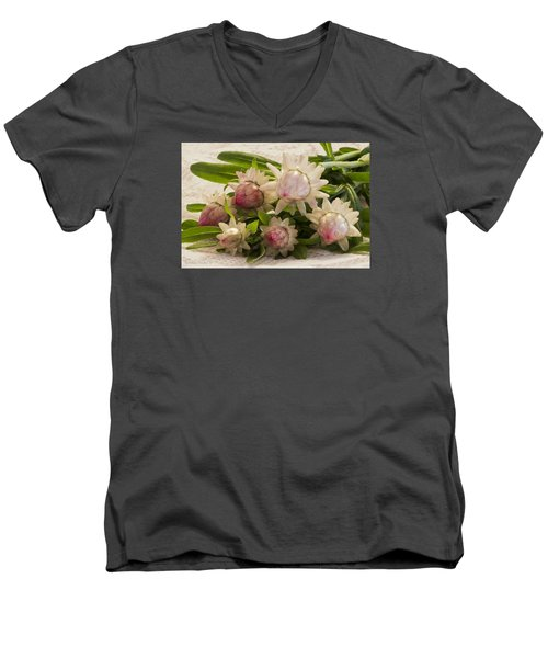 Straw Flowers And Lace Men's V-Neck T-Shirt by Sandra Foster