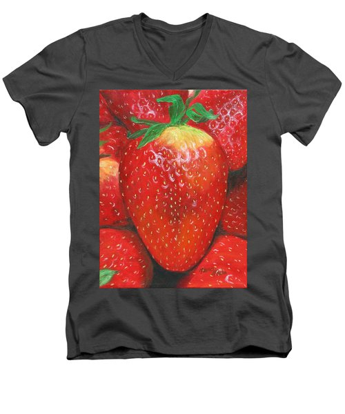 Men's V-Neck T-Shirt featuring the painting Strawberries by Nancy Nale