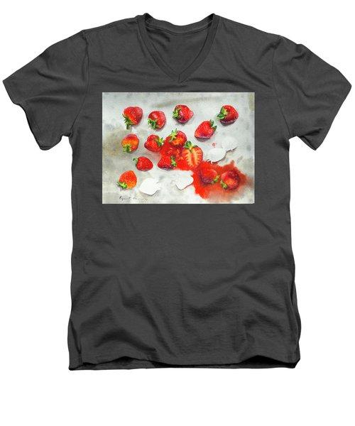 Strawberries On Paper Towel Men's V-Neck T-Shirt