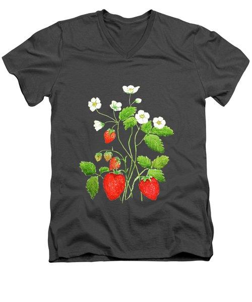 Strawberry  Men's V-Neck T-Shirt by Color Color