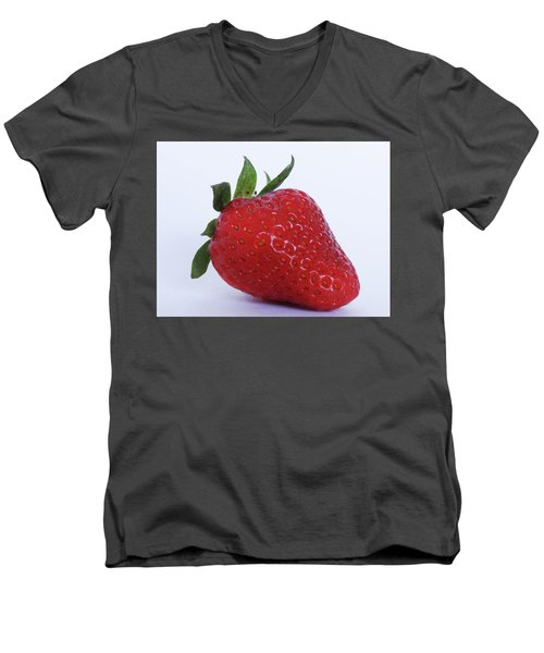 Strawberry Men's V-Neck T-Shirt by Julia Wilcox