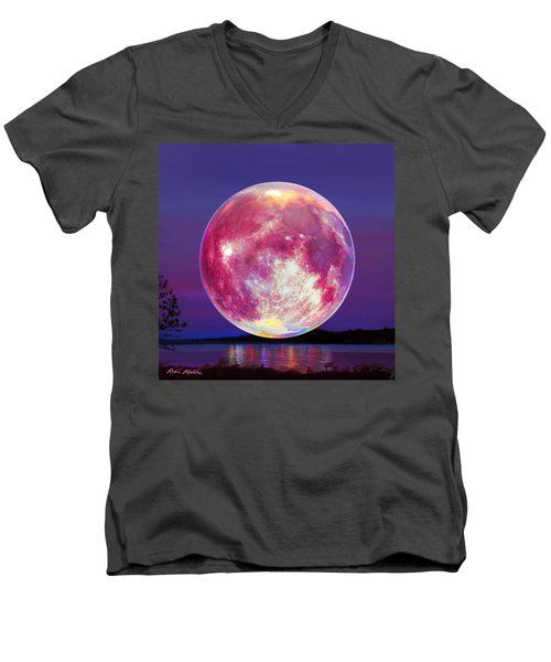 Strawberry Solstice Moon Men's V-Neck T-Shirt