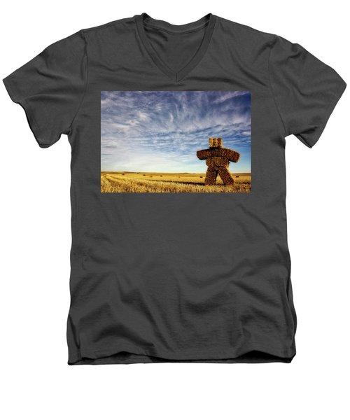 Strawman On The Prairies Men's V-Neck T-Shirt