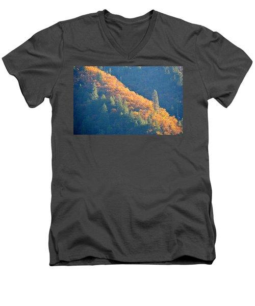 Men's V-Neck T-Shirt featuring the photograph Streak Of Gold by AJ Schibig