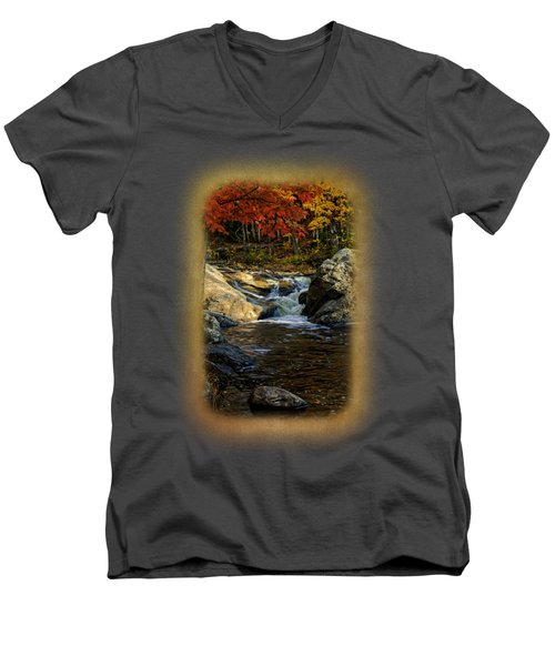 Stream In Autumn No.17 Men's V-Neck T-Shirt by Mark Myhaver