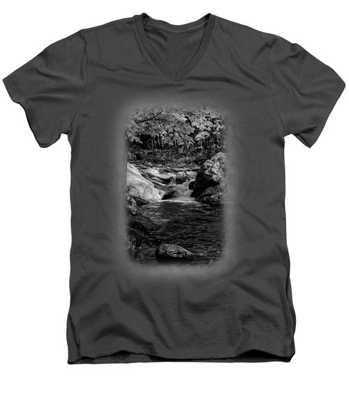 Stream In Autumn No.18 Men's V-Neck T-Shirt by Mark Myhaver