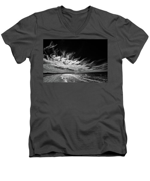 Streaming Clouds Men's V-Neck T-Shirt by Kevin Cable