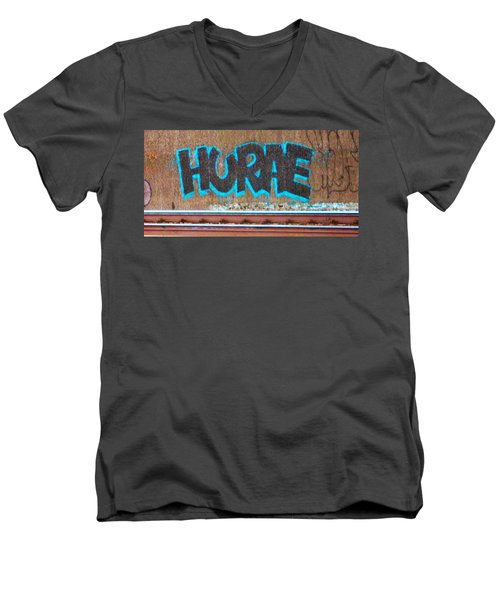 Street Graffiti-hooray Men's V-Neck T-Shirt by Martin Cline