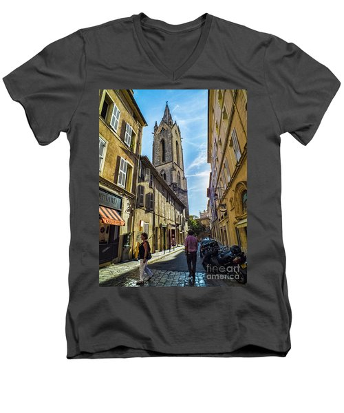 Street In Aix Men's V-Neck T-Shirt by Karen Lewis
