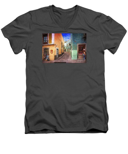 Street In Guanajuato Men's V-Neck T-Shirt by John  Kolenberg