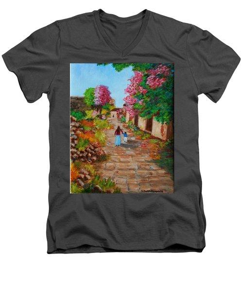 Street In Monemvasia Men's V-Neck T-Shirt