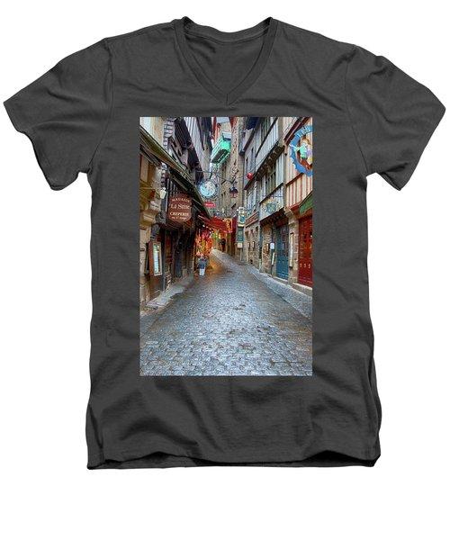 Street Le Mont Saint Michel Men's V-Neck T-Shirt by Hugh Smith