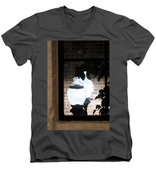 Men's V-Neck T-Shirt featuring the photograph Street Light Through Window by Viktor Savchenko