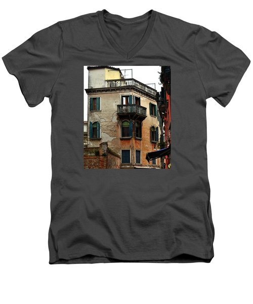 Men's V-Neck T-Shirt featuring the photograph Street Scene Venician Shutters by Richard Ortolano
