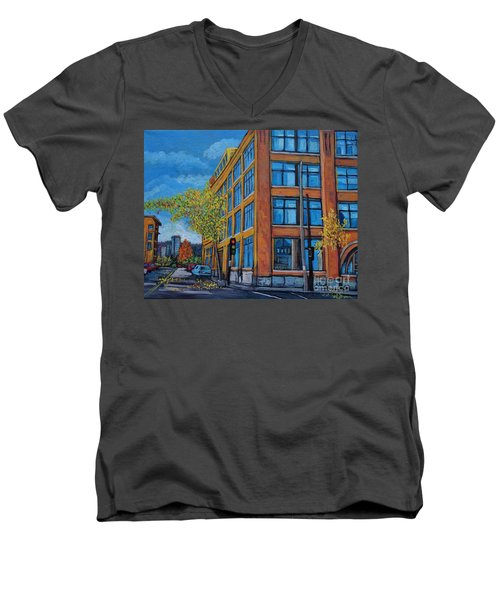 Street Study Montreal Men's V-Neck T-Shirt by Reb Frost